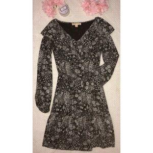 Michael Kors Mixed Paisley Ruffled Georgette Dress